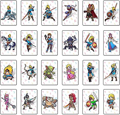 [最新バージョン] 24個ゼルダの伝説ブレスオブザワイルドTLOZNFCゲームカード、リンクの目覚めゼルダボットゲームリワードカード