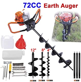 SuxiDi 72cc Post Hole Digger Auger Petrol Drill Bit Earth Borer with 3 Bits (4