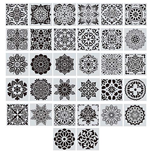 EasyLife Mandala-Schablonenset, 32 Stück 15 * 15 cm Malschablone und Airbrush-Vorlage, Mandala-Punktschablonen für Wand, Stein, Malvorlagen für Kinder, flexibel und wiederverwendbar