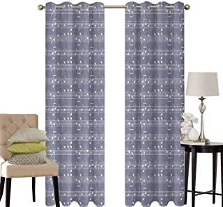 hengshu Grey Patio Door Curtains for Bedroom Piano Music Clay Motif with Various Notes Symbols Beats Melody Rhythm Harmony Jazz Thermal Insulated Noise Reducing W52 x L45 Inch Ash White