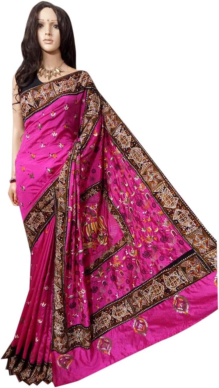 Indian Saree Pink Ethnic Batik Border Designer Collection Sari Party Formal Women Wear 103a
