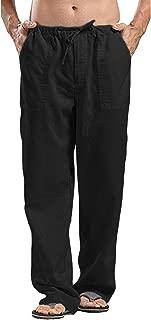 Mens Linen Loose Casual Lightweight Elastic Waist Yoga Beach Pants