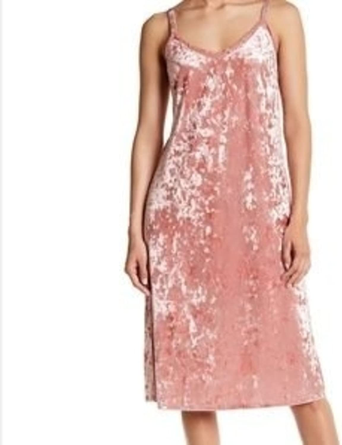 Bobeau Dress S Small Pink Lace Trim Velvet Slip Slits Cocktail Party Holiday Womens