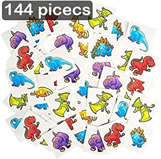 Kicko Dinosaur Temporary Tattoo Kit 144 Pieces - 2 Inch Kids Dino Assortment - Bright and Colorful Temporary Tattoo Toys for Kids and Adults