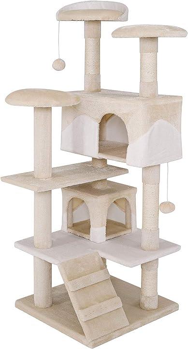 albero tiragraffi gatto gioco giocattolo gatti altezza 130 cm beige/bianco dibea kb00301