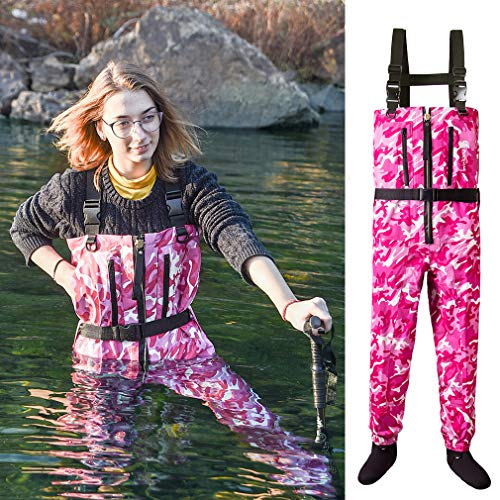 NEYGU Men & Women's Quick-Drain Waterproof and Breathable Chest Wader with Front Venting Zip for Fishing and Hunting,Pink Camo L