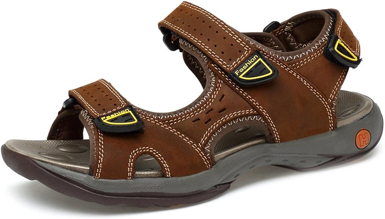 CHENXD Schuhe, Herrenmode rutschfeste weiche Flache DREI Klettverschluss aus echtem Leder Strand Sandalen (Farbe   Braun, Größe   44 EU)