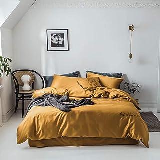 Funda nórdica, juego de 4 colchas bordadas con edredón bordado en color liso de algodón de color liso largo 60S Juego de 4 piezas de cama simples con bordados y fundas de almohada,Orange,King