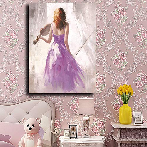 QWESFX Colorful Ballet Music Girl Canvas Art Print Painting Figure Poster Wall Pictures Beautiful Girl Canvas Art para la decoración del hogar (Imprimir sin marco) E 60x120CM