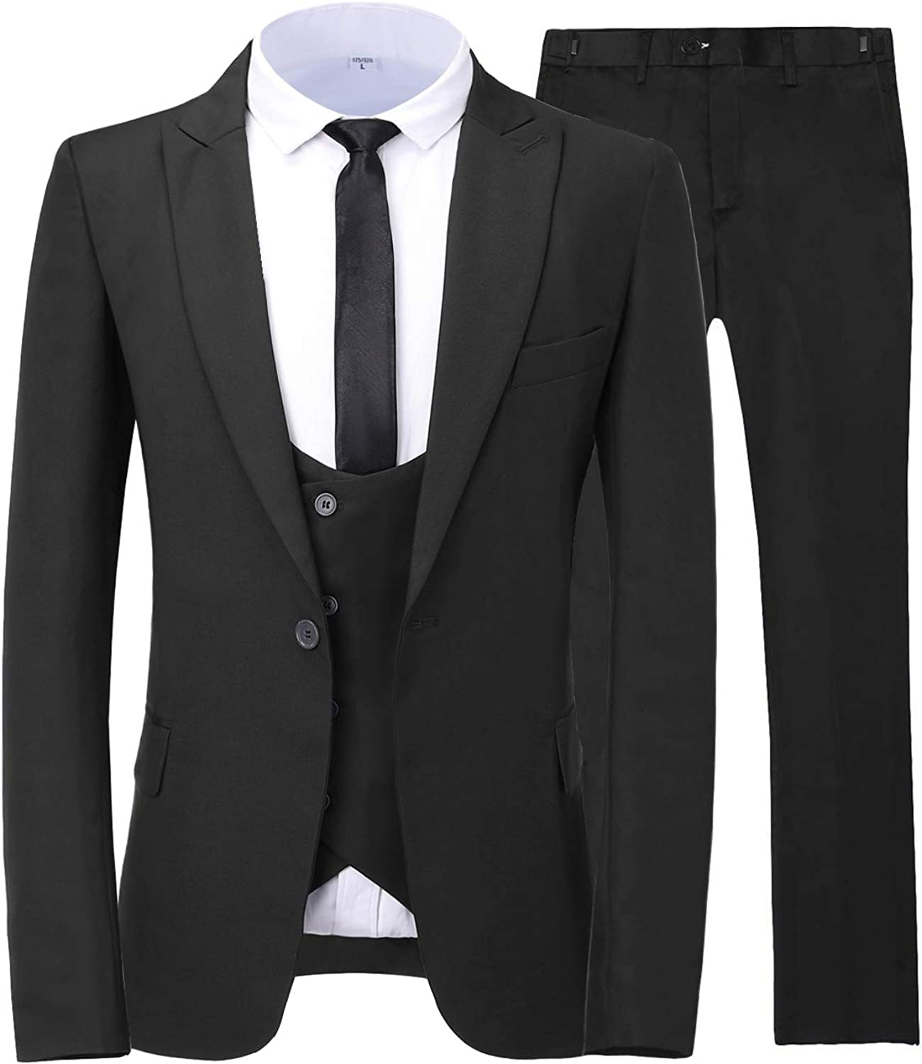 JYDress Mens Double Breasted 3 Pieces Suits Slim Fit Wedding Groom Tuxedos