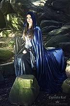 Capa terciopelo azul medieval con capucha