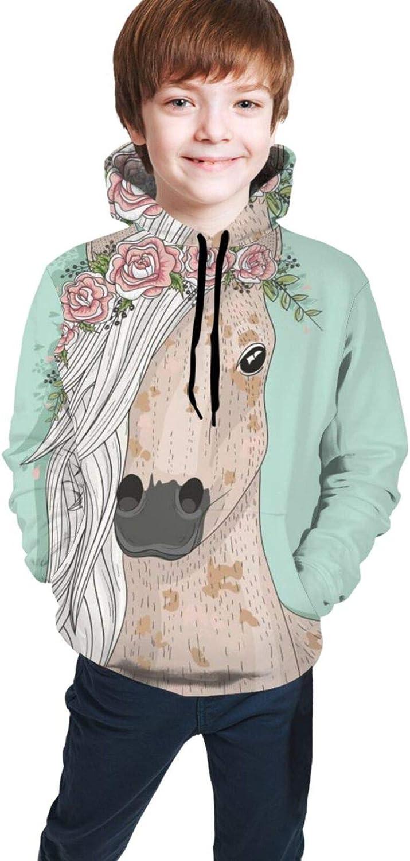 Boys Girls Long Sleeves Hoodies Fairytale Floral Horse Hooded Sweatshirt,Teen Tops