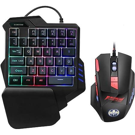 Elikliv Teclado de una Sola Mano y Ratón para Juegos, Teclado Gaming de Cable con 35 Teclas, Retroiluminación RGB LED y Reposapalma, Keyboard Gaming