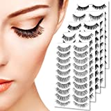 Goldrose Beauty 50 Pairs 5 styles Lashes Pack False Eyelashes Natural Look Wispies,Handmade Fake Eyelashes Extension,Fashion Thick Soft,Can be Reusabled,with a Free Stainless Steel Eyelash Tweezers