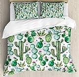Zozun Juego de Funda nórdica Verde, espigas de Plantas de Cactus mexicanas de Texas con Estampado de Dibujos Animados, Juego de Cama Decorativo de 3 Piezas con 2 Fundas de Almohada, Blanco Rosa