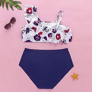 Swim wear The New Shoulder Plaid Bikini Swimwear Printing Swimsuit Female Split Swimwear Female Big Yards LJJCUICAN (Color : White, Size : 4XL)