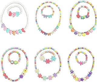 HYHP Girls Jewelry Toddler Costume Jewelry, 6 Pack Princess Necklace Kids Jewelry