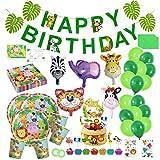 Happy Moment decoration Dschungel Deko ,geburtstagsdeko Jungen, Safari Tier für Kinder,Party-Set...