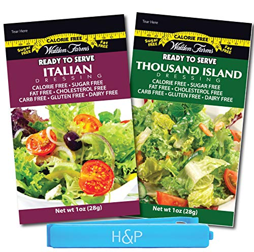Walden Farms Salad Dressing Packets - Favorite Flavors Pack in Ready to Serve Calorie Free Flavors, 20 - 1 oz Pouches Includes 10 Thousand Island and 10 Italian Dress Packets with H&P Bag Clip
