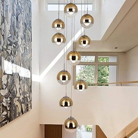 KBEST Moderne escalier Lustre 10 Boules de Verre personnalitélécommande; crÉatrice Salon luminaire Minimaliste Long Pendentif lumière, 40 * 200 cm (Couleur : Or)