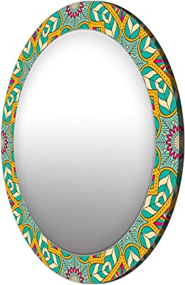 999Store Printed Green and Yellow Floral Round Mirror (MDF_17X17 Inch_Multi)