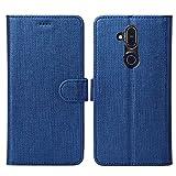 Eastcoo Kompatibel Nokia 8.1 Hülle Folio Flip Schutzhülle Tasche Handyhülle Cover PU Leder Dünn Premium klappbares Bumper Hülle [Mit Standfunktion][ Magnetverschluss] [Kartenfach](1-Blue)