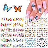 12 Sheets Butterfly Nail Art Stickers Water Transfer Nail Decals Flowers Butterfly Designs for Nails Supply Watermark DIY Colorful Butterflies Nail Art Foils for Nails Design Manicure Tips Wraps Decor