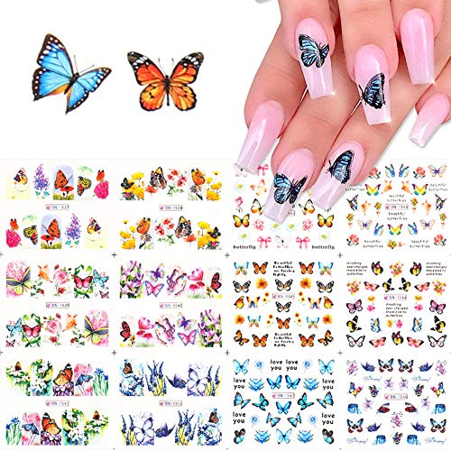 Comdoit Butterfly Nail Art Stickers Water Transfer Nail Decals Flowers Butterfly Designs for Nails Supply Watermark DIY Colorful Butterflies Nail Art Foils for Nails Design Manicure Tips Decor(12Pcs)