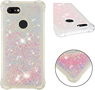 Google Pixel 3XL Case, 3D Air Cushion Liquid Quicksand Bling Floating Moving Shine Glitter Love Heart Clear Soft TPU Silicone Case for Google Pixel 3 XL (h Pink)