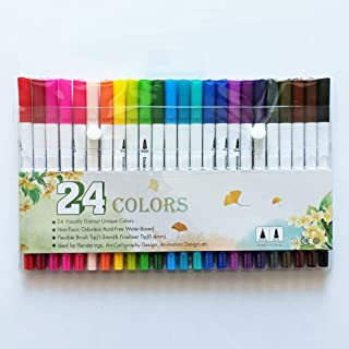 Sencoo Fine Brush Art Markers, 24 Colors Dual Brush Pens, Both Fine Tip & Brush Tip, Mess Free Markers for Adult Coloring ...