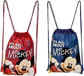 Disney Mickey Mouse Drawstring Backpacks 2 Pack Blue & Red