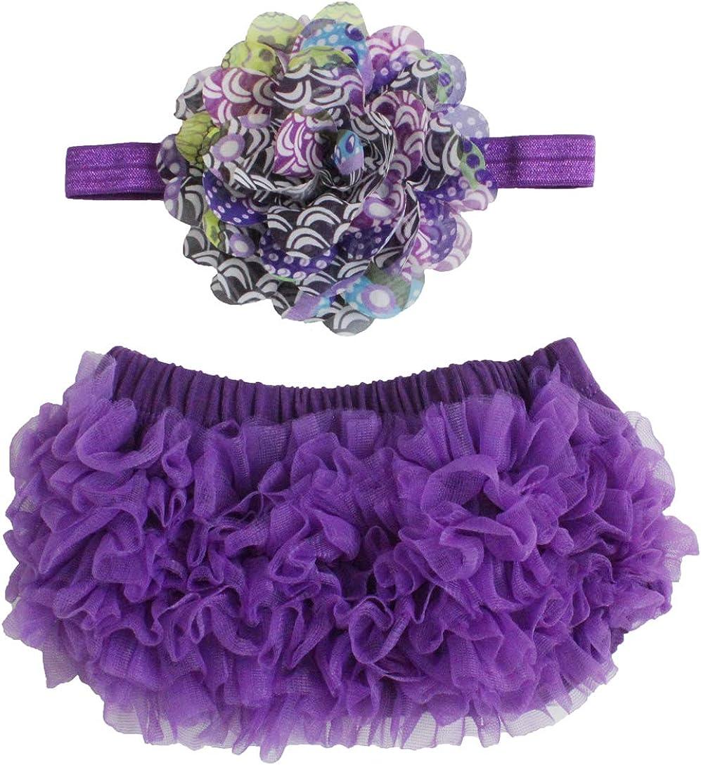 2pcs Newborn Baby Girls Chiffon Bloomer & Headband Set Newborn Photo Prop Baby Girl Cake Smash Outfit Purple Peacock
