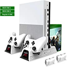 OIVO Cooling Fan Compatible with Regular Xbox One/Xbox One S/Xbox One X, Vertical Stand Cooler, Controller Charger Dock Station with 2Pack 600mAh Batteries, LED Indicators and 12 Games Storage(White)