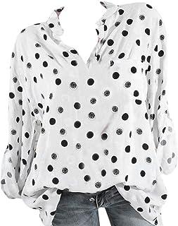 3475e4b2cfba5 Guesspower T-Shirt Pois Imprimé Sexy Tee-Shirt Femme Top Chemise Chic  Manches Longues
