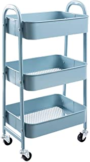 AGTEK Makeup Cart, Movable Rolling Organizer Cart, Grey-Blue 3 Tier Metal Utility Cart