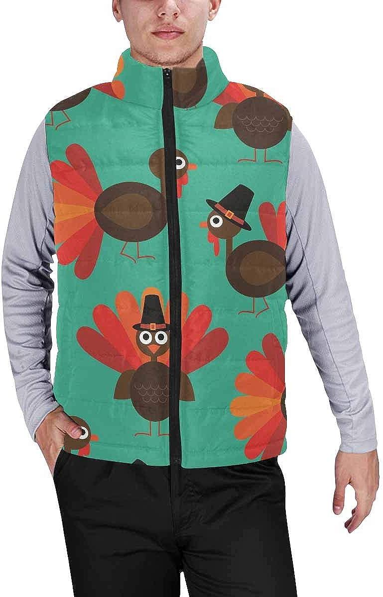 InterestPrint Men's Full-Zip Soft Warm Winter Outwear Vest Cute Small Unicorn with Mom in Wreath