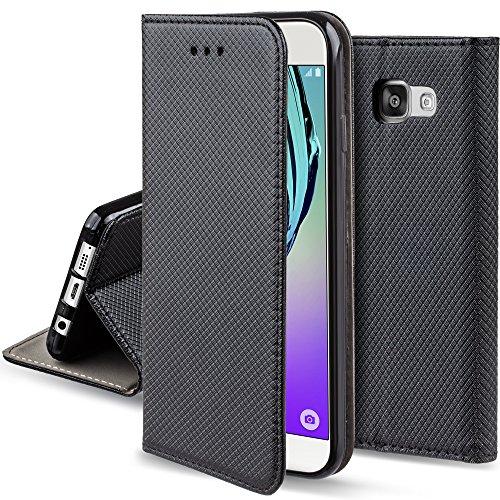 Moozy Funda para Samsung A5 2016, Negra - Flip Cover Smart Magnética con Soporte y Cartera para Tarjetas