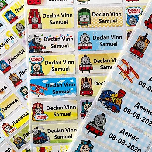 PMSMT Pegatinas de Nombre Personalizado con patrón deDibujos AnimadosBonitos de3 tamaños,Etiquetas Impermeables para niños, álbum de Recortes Personal, papelería Escolar, Thomas