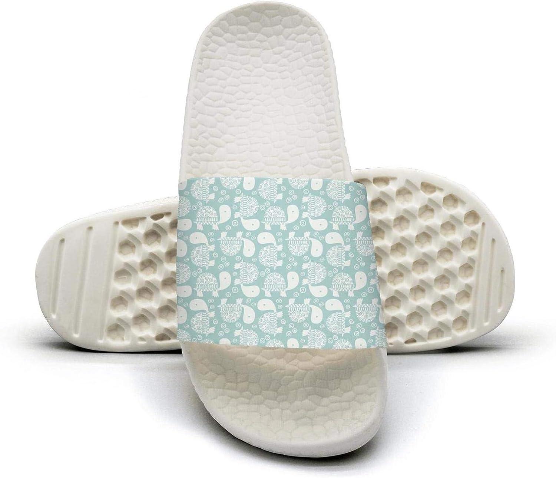 Beautiful Women Cute Little Turtles Slip on Beach Sandals and Anti-Slip Shower Slipper Comfort Sandals