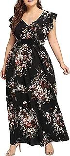 CCatyam Plus Size Dresses for Women, Skirt V Neck Print Boho Maxi Beach Loose Party Fashion