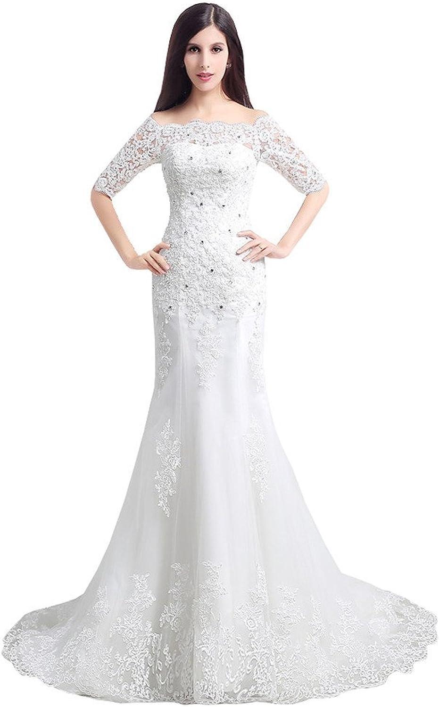 YSFS Women's Half Sleeve Appliques Lace Sheath Wedding Dress Bridal Wedding Gowns