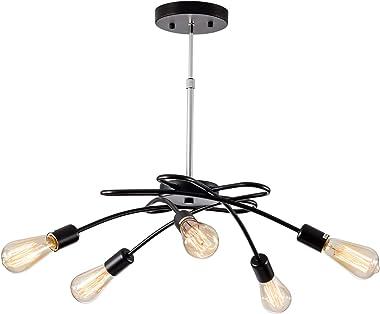 Moderna lámpara de techo con 5 espirales, color negro, altura ajustable fácil para salón, comedor, cocina, balcón, restaurant