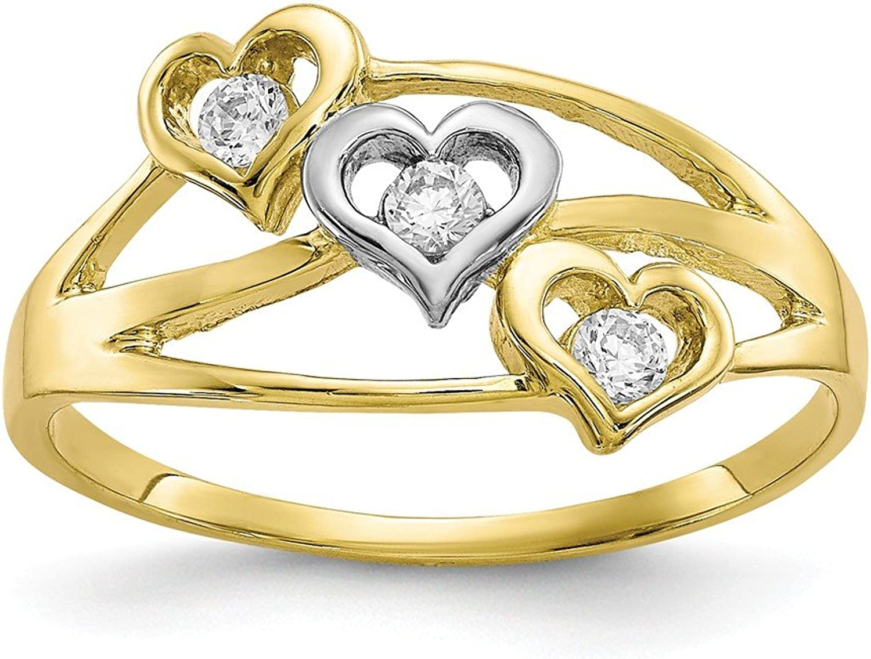 10k Yellow gold Triple Heart CZ Ring for Women Size 6