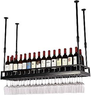 Organisation de rangement de cuisine Casiers à vin rétro de type plafond Noir Porte-gobelets à vin à hauteur réglable Port...