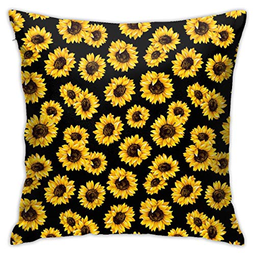 ULQUIEOR - Funda de cojín con diseño de girasoles dorados, cuadrada, decorativa, para sofá, cama, coche, 45 x 45 cm