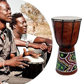 Muslady Tambor Africano Djembe 6in Tallado a Mano Madera Maciza Piel de Cabra Instrumento Musical Tradicional Africano