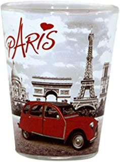Paris Eiffel Tower and Red Car Shot Glass