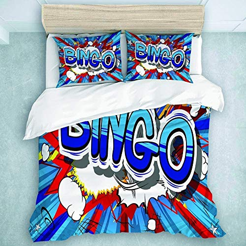 AFFRIFAY Duvet Cover Set 68x86 Twin Size 4 Corner Ties, Vintage Comic Book Style Word On Abstract Background Comforter Cover Sets 3 Pieces (1 Duvet Cover + 2 Pillow Shams)