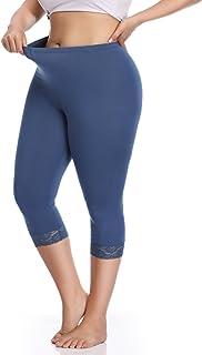 Women's Plus Size Cotton Capri Cropped Leggings Lace Trim Soft Tights Pants