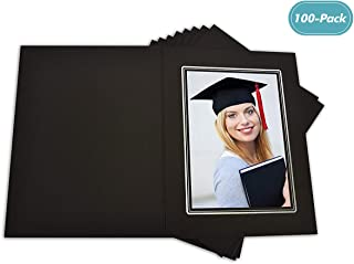 Golden State Art, Cardboard Photo Folder for a 5x7 Photo (Pack of 100) Black Color with Sliver Lining